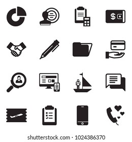 Solid black vector icon set - circle chart vector, stamp, clipboard calculator, wallet, handshake, pen, folder, credit, search employer, monitor phone, manager yacht, dialog, fly ticket, list