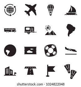 Solid black vector icon set - around the world vector, plane, air balloon, sail boat, bus, camp trailer, pyramid, south america, ticket, lifebuoy, arrival, hotel, road, flag, flippers