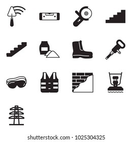 Solid black vector icon set - trowel vector, construction level, angle grinder machine, stairways, cement bag, work boots, jackhammer, protective glasses, jacket, wall plastering, plate compactor
