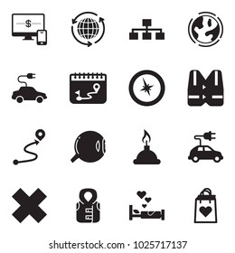 Solid black vector icon set - monitor and phone vector, around the world, hierarchy, earth, electric car, calendar route, compass, life vest, eye, spirit lamp, delete cross, love bed, heart bag
