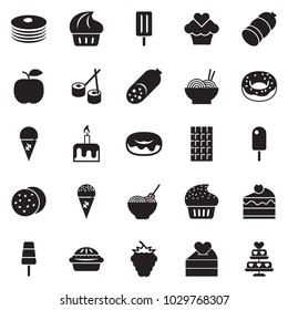 Solid black vector icon set - sausage vector, donut, pasta, ice cream, cupcake, chocolate, sushi, cherry cake, cookies, candle, pancakes, berry, apple, love, heart