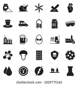 Solid black vector icon set - security bank vector, factory, yen sign, cement bag, protective glasses, chicken, chocolate, milk, mushroom, easter egg, beer, cylinder hat, eco, water drop, hotel