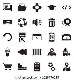 Solid black vector icon set - cash vector, dialog, check list, mobile pay, office building, brick wall, radiator, passenger wagon, map pin, bulb, gear, cursor browser, volume max, friends, lifebuoy