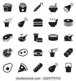 Solid black vector icon set - sausage vector, pasta, pizza, chicken, steak, nuggets bucket, french fries, hamburger, kebab, soup, ham, omelette, canned food, fast, Chinese, pancakes, bread, pan