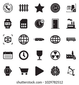 Solid black vector icon set - calendar vector, time, 24 hours, factory, watch, door, cup, eco, nuclear, sim card, radiator, train, bus, globe, brain, 3d cube, play, star, phone horn, cart