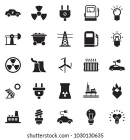 Solid black vector icon set - bulb vector, offshore oil platform, sun panel, jack, mine trolley, gas station, thermal power plant, line pillar, plug, factory, nuclear, electric car, radiator