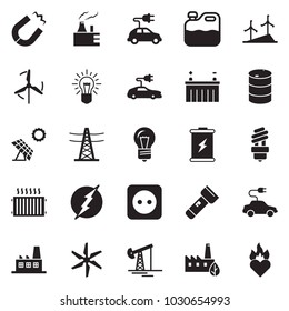 Solid black vector icon set - oil jack vector, bulb, canister, battery, sun panel, windmill, thermal power plant, barrel, line pillar, socket, factory, eco, electric car, magnet, radiator, torch