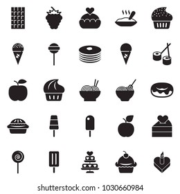 Solid black vector icon set - cupcake vector, donut, pasta, lollypop, ice cream, porridge, chocolate, sushi, pancakes, berry, apple, love, heart cake