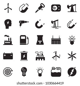 Solid black vector icon set - bulb vector, oil jack, factory, drill, canister, jackhammer, battery, gas station, windmill, gear, magnet, headache, nuclear, measurement, power