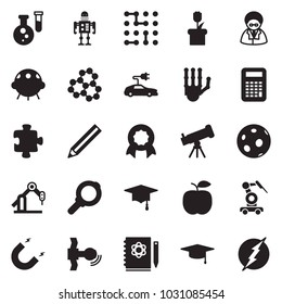 Solid black vector icon set - robot hand vector, telescope, flask, logbook, molecule, magnet, moon, satellite, graduate hat, calculator, manufacture, circuit, plant chip, electric car, puzzle, ufo