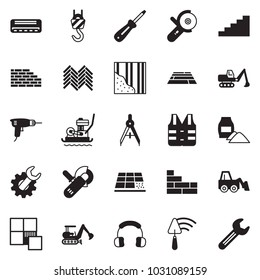 Solid black vector icon set - wrench gear vector, drill, excavator, trowel, loader, angle grinder machine, stairways, cement bag, drawing compass, winch, wallpaper, headphones, air condition, tile