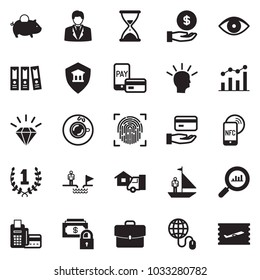 Solid black vector icon set - businessman vector, piggy bank, sand clock, Laurel wreath, idea, chart, card reader, safe money, globe mouse, finance monitoring, diamond, office folder, advisor, case