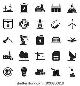 Solid black vector icon set - battery vector, leaf, windmill, earth, thermal power plant, bulb, hydro, line pillar, forest, eco factory, gear, canister, cunstruction crane, magnet, pipes, sim card