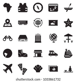 Solid black vector icon set - around the world vector, case, work boots, plane, calendar route, cruiser, passenger wagon, car baggage, africa, south america, map pin, ticket, office, binoculars