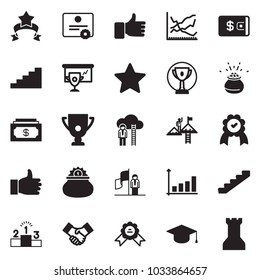 Solid black vector icon set - cash vector, wallet, handshake, success, medal, cup presentation, award, growth chart, line, finger up, pedestal, career ladder, stairways, leprechaun pot, star ribbon