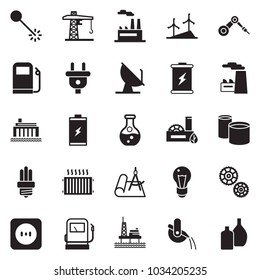 Solid black vector icon set - factory vector, offshore oil platform, battery, gas station, flask, windmill, bulb, hydro power plant, plug, socket, eco, gear, cunstruction crane, pipes, laser, draw
