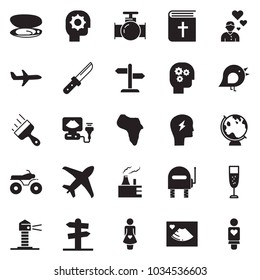 Solid black vector icon set - gear head vector, putty knife, champagne, holy bible, africa, bird, oil pipeline, thermal power plant, plane, signpost, lighthouse, shell, headache, ultrasound, globe