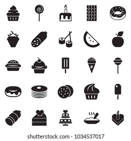Solid black vector icon set - sausage vector, cupcake, donut, lollypop, ice cream, porridge, chocolate, sushi, cookies, candle cake, pancakes, watermelone, berry, apple, heart