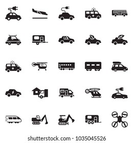 Solid black vector icon set - home delivery vector, excavator, eco car, electric, unmanned, passenger wagon, train, baggage, bus, camper, camp trailer, arrival, ambulance, medical helicopter, drone