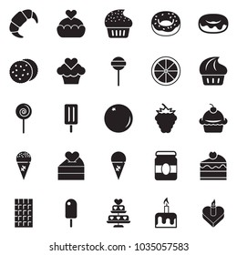 Solid black vector icon set - cupcake vector, donut, lollypop, ice cream, croissant, jam, chocolate, cherry cake, orange, cookies, candle, berry, love, heart