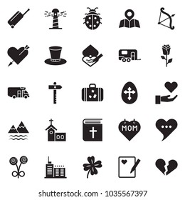 Solid black vector icon set - holy bible vector, easter egg, lady bug, church, clover, cylinder hat, mother day, camper, camp trailer, mountains, map pin, signpost, suitcase, wheel, lighthouse, rose