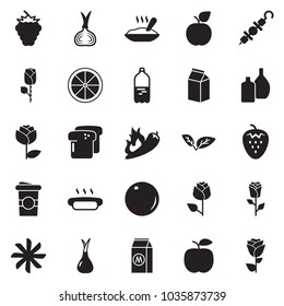 Solid black vector icon set - ventilation vector, hot dog, kebab, porridge, milk, coffee cup, onion, orange, pepper, strawberry, berry, bread, leaf, glass bottle, apple, water, rose