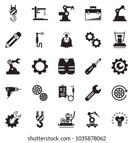 Solid black vector icon set - super manager vector, case, pencil, wrench gear, drill, winch, screwdriver, work jacket, plate compactor, welding machine, cunstruction crane, manufacture robot
