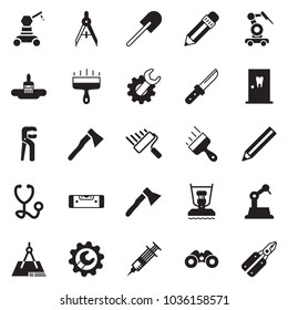 Solid black vector icon set - pencil vector, wide putty knife, brush, wrench gear, construction level, drawing compass, paint roller, adjustable, axe, plate compactor, draw, binoculars, syringe