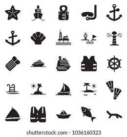 Solid black vector icon set - chasm vector, paper ship, fish, offshore oil platform, sail boat, cruiser, lighthouse, shell, starfish, island, life vest, anchor, pool, flippers, diving, handwheel