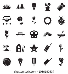 Solid black vector icon set - ventilation vector, ice cream, sun, lady bug, butterfly, flower, rainbow, wheel suitcase, starfish, island, pot, ball, canoe, forest, picnic, tent, boat, rose
