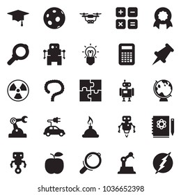 Solid black vector icon set - intestines vector, logbook, bulb, nuclear, globe, moon, graduate hat, spirit lamp, calculator, robot, manufacture, electric car, puzzle, drone, magnifier, certificate