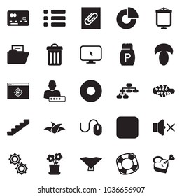 Solid black vector icon set - circle chart vector, mouse, credit card, gears, landing page, hierarchy, stairways, mushroom, pepper, leaf, neural network, monitor cursor, volume off, user password