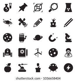 Solid black vector icon set - robot hand vector, microscope, flask, logbook, magnet, nuclear, saturn, moon, satellite, manufacture, windmill, plant chip, magnifier, ufo, scientist, 3d cube, pencil