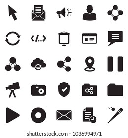 Solid black vector icon set - cursor vector, website, shield check, user, share, social, friends, mail, opened, folder, shared, refresh cloud, history, play, pause, record, loudspeaker, chat, camera