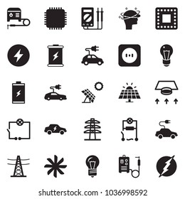 Solid black vector icon set - wiring vector, ventilation, welding machine, battery, sun panel, bulb, power line pillar, socket, electric car, cpu, headache, measurement, chip