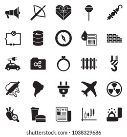 Solid black vector icon set - newspaper vector, calculator drop, Japanese candles, wiring, winch, brick wall, lollypop, kebab, fast food, rolling pin, barrel, power plug, nuclear, radiator, plane