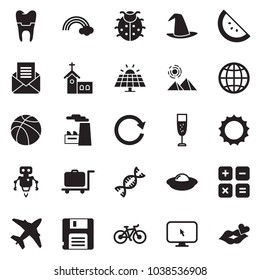 Solid black vector icon set - globe vector, factory, champagne, watermelone, sun, lady bug, church, rainbow, witch hat, panel, plane, pyramid, luggage trolley, dna, implant, calculator, robot, ufo