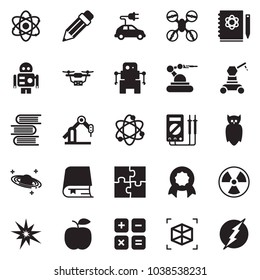 Solid black vector icon set - atom vector, owl, logbook, nuclear, saturn, calculator, measurement, robot, manufacture, electric car, puzzle, drone, bang, certificate, book, 3d cube, pencil, apple