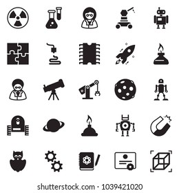 Solid black vector icon set - telescope vector, owl, flask, logbook, rocket, magnet, nuclear, saturn, moon, spirit lamp, 3d printer, robot, manufacture, cpu chip, gear, puzzle, scientist, cube