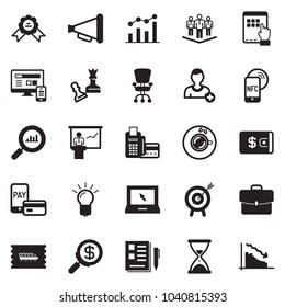 Solid black vector icon set - notes vector, sand clock, queen pawn, chart, card reader, search money, wallet, finance monitoring, tablet pc hand, office chair, presentation, medal, nfc mobile, case