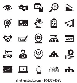 Solid black vector icon set - businessman vector, check, web camera, safe money, search, handshake, hand, browser, meeting, advisor, credit card, home delivery, motivation, gold, get, loudspeaker