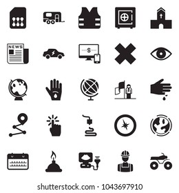 Solid black vector icon set - monitor and phone vector, safe, calendar, advisor, newspaper, success, church, earth, workman, electric car, sim card, camp trailer, compass, life vest, route, injury