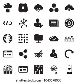 Solid black vector icon set - browser vector, web site, team, bitcoin sign, cloud check, server, cpu, circuit, neural network, globe, website, user login, share, social, folder, upload, refresh