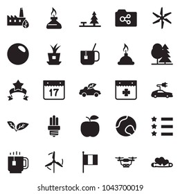 Solid black vector icon set - tea cup vector, saint patrick day, irish flag, star ribbon, leaf, forest, eco factory, bulb, car, spirit lamp, windmill, plant chip, electric, drone, apple, hot, tennis