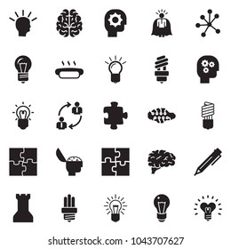Solid black vector icon set - idea vector, super manager, pen, employ exchange, bulb, brain, gear head, hot dog, neural network, puzzle, chess rock, heart
