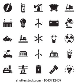 Solid black vector icon set - bulb vector, table lamp, soda, offshore oil platform, battery, jack, mine trolley, windmill, hydro power plant, line pillar, eco factory, car, nuclear, electric, torch