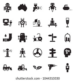 Solid black vector icon set - gear head vector, success, drill, loader, airbrush, champagne, fan, leaf, oil pipeline, australia, signpost, lighthouse, luggage trolley, massage, ultrasound, robot