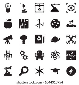 Solid black vector icon set - telescope vector, atom, logbook, bulb, saturn, moon, graduate hat, 3d printer, robot, manufacture, circuit, gear, windmill, electric car, puzzle, drone, bang, magnifier