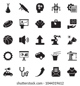 Solid black vector icon set - presentation vector, gear head, calculator, growth arrow, cloud shield, Chinese food, rolling pin, onion, sun, cunstruction crane, pyramid, suitcase, shell, stethoscope