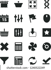 Solid Black Vector Icon Set - camera vector, grocery basket, renewal, cross, calendar, flag, regulator, size, move down, fan screw, cloth industry, pan, filter, engineer calculator, mouse, dna, star